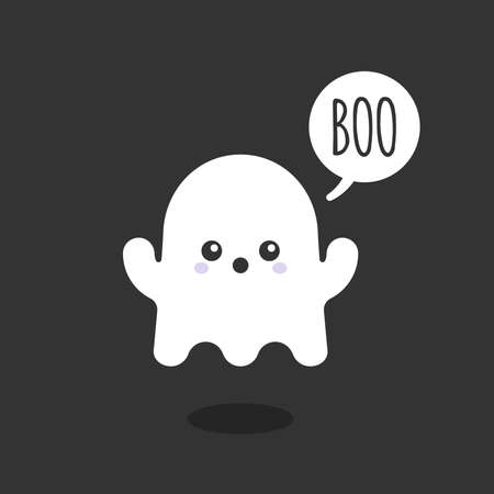 Ilustración de Little ghost saying Boo .Cute character. Happy Halloween. Vector illustration, flat design - Imagen libre de derechos