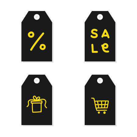 Ilustración de Black tag set. Yellow doodles. Yellow line. Black friday Vector illustration, flat design - Imagen libre de derechos