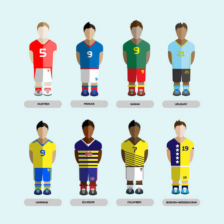 f5ca880f88f Football club Soccer Players silhouettes. Computer game Soccer team players  set. Sports infographic.