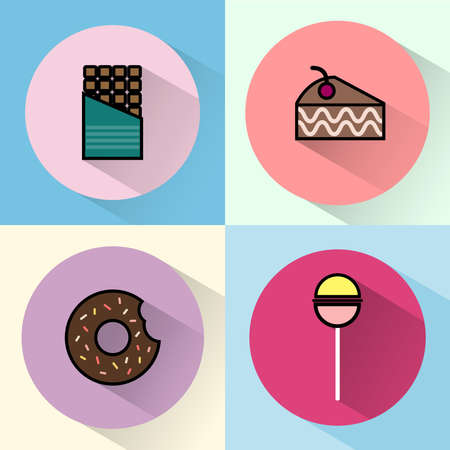 Yummy sweet treats concept. Chocolate Bar. Cake Slice with Cherry on top. Piece of Brownie. Chocolate cream donut with sprinkles and bite mark. Colorful Lollipop. Digital vector round icon set
