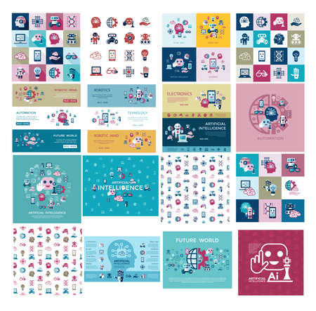 Ilustración de Digital vector artificial intelligence and electronic technologies simple flat icon set. Internet of things concept with chip, cars and mobile brain. Ideas, glasses with camera, games and robots. - Imagen libre de derechos