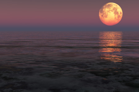 Red moon over the sea