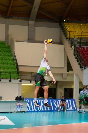 MILAN, ITALY – DECEMBER, 1:    A. Fiore (1) in Vero Volley  Monza – Globo BP Frosinate Sora ( Italian Volley League A2) on December, 1  , 2013 in Milan , Italy