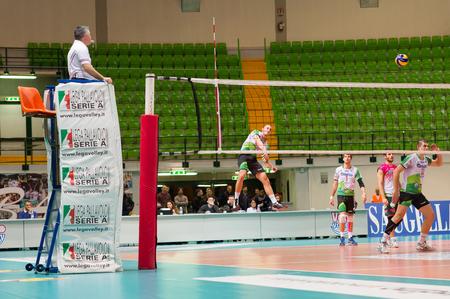 MILAN, ITALY – DECEMBER, 1:   V. Tamburo ( Globo BP, 11  ) in Vero Volley  Monza – Globo BP Frosinate Sora ( Italian Volley League A2) on December, 1  , 2013 in Milan , Italy