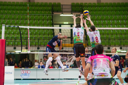 MILAN, ITALY – DECEMBER, 1:    W. P. Diaz (7) in Vero Volley  Monza – Globo BP Frosinate Sora ( Italian Volley League A2) on December, 1  , 2013 in Milan , Italy