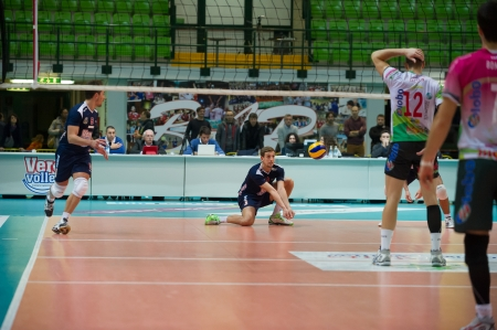 MILAN, ITALY – DECEMBER, 1:    L. Bonetti (3) in Vero Volley  Monza – Globo BP Frosinate Sora  ( Italian Volley League A2) on December, 1  , 2013 in Milan , Italy