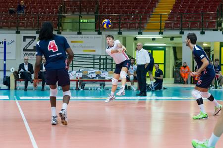 MILAN, ITALY – DECEMBER, 1:    W. Procopio  ( 1) in Vero Volley  Monza – Globo BP Frosinate Sora  ( Italian Volley League A2) on December, 1  , 2013 in Milan , Italy