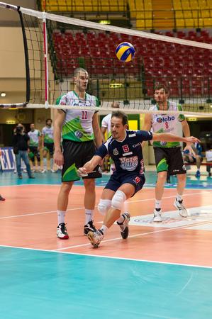 MILAN, ITALY – DECEMBER, 1:    S. Tiberti  ( 5) in Vero Volley  Monza – Globo BP Frosinate Sora ( Italian Volley League A2) on December, 1  , 2013 in Milan , Italy