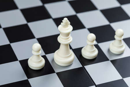 Photo pour Conceptual of strategy and chess. on checkerboard background high angle view. horizontal image - image libre de droit