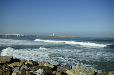 Morocco, lighthouse and coast on atlantic ocean in Casablanca