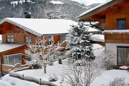 Austria, homes in wintery Tyrol