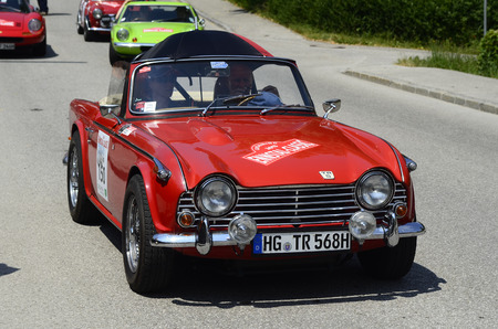 Lunz am See, Austria - July 19th 2013: Triumph TR5 waiting for start to Special Stage by International Ennstal Classic 2013, a yearly tournament through Austria for vintagecars