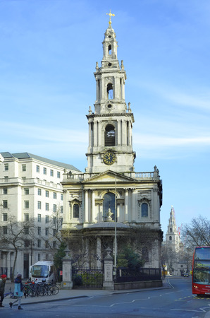 London, United Kingdom - January 16th 2016: Unidentified people and traffic around church Mary le Strand