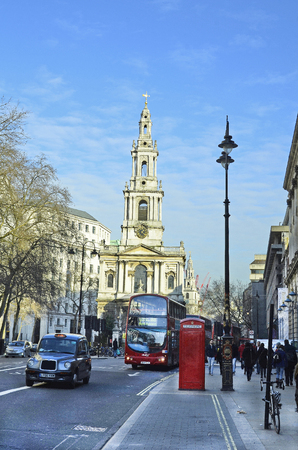 London, United Kingdom - January 19th 2016: Unidentified people and traffic around Saint Mary le Strand church