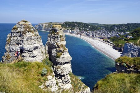 France, Normandy, beach and rock formation in Etretat