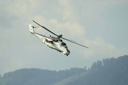 Zeltweg, Styria, Austria - September 2nd 2016: Military helicopter Mil Mi 35 by public airshow named Airpower 2016