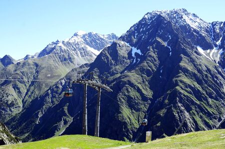 Mandarven, Austria - June 23rd 2016: Cable car named Rifflsee Bahn up to hiking and skiing area in Tyrolean Alps