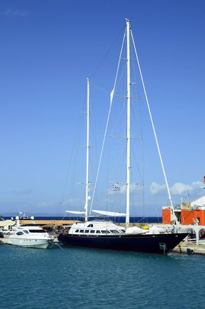 Greece, Zakynthos, motoryacht and sailing ship in the harbor