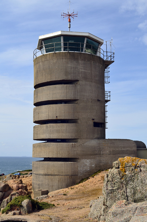 Great Britain, Jersey Island, observation tower from the WW2 on Corbiere Bay