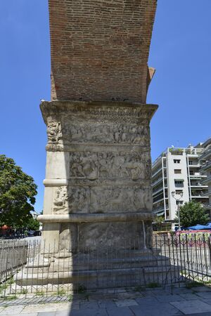 Greece, Thessaloniki aka Saloniki, relief on ancient monument Arch of Galerius
