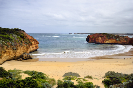 Australia, VIC, beach on Bay of Martyrs in Port Campbell national park on Great Ocean Road, preferred tourist attraction and travel destination,