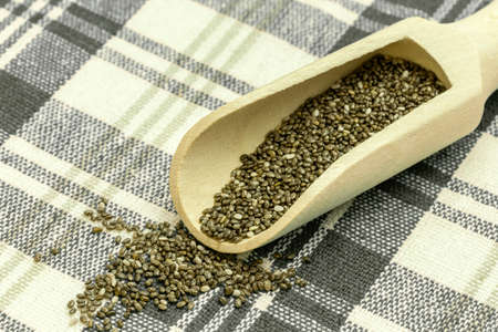 Chia seeds in a wooden spoon - Chia is a plant from Mexico and it is considered very healthy. The seeds contain a high percentage of omega-3 fatty acids, vitamins, antioxidants, proteins and minerals. Chia seeds swell considerably on and are suitable for