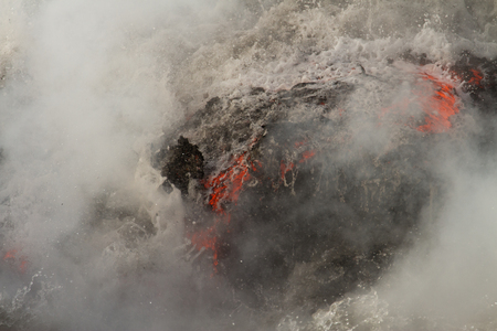 Lava flow enters the sea in Hawaii