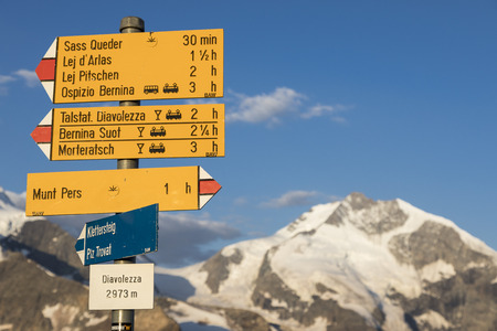 Typical yellow Signpost in the Swiss alps