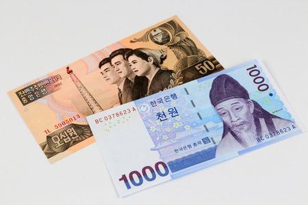 south and north korea banknotes, won