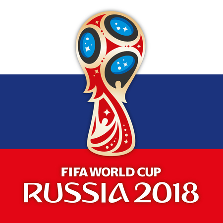 Photo pour MOSCOW, RUSSIA, June 2018 - Russia 2018 World Cup logo and the flag of Russia - image libre de droit