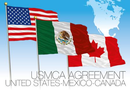 Illustration pour USMCA Agreement 2018 flags, United States, Mexico, Canada, vector illustration with map - image libre de droit