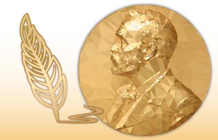 Illustration pour Nobel Literature award, gold polygonal medal and pencil symbol - image libre de droit