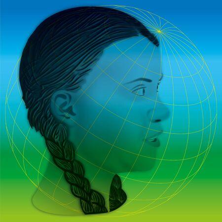 Foto de Greta Thunberg portrait, graphic elaboration and illustration - Imagen libre de derechos