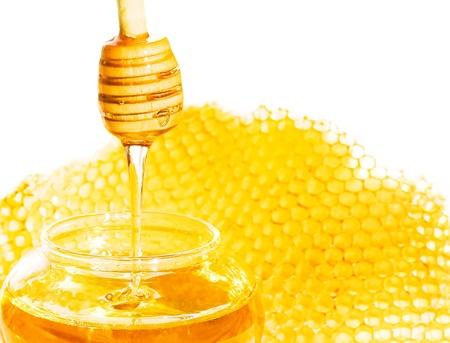 Bee honey with honeycomb wax