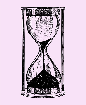 hourglass, doodle style, sketch illustration isolated on pink background