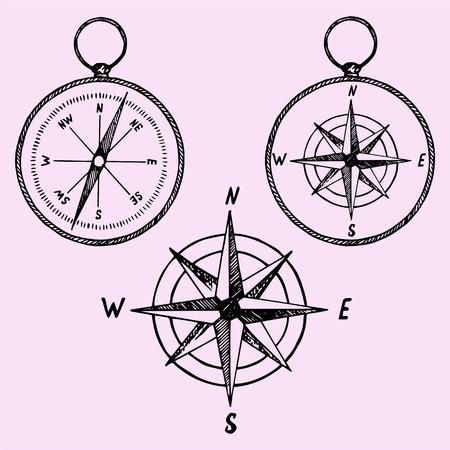 Foto de set of the compass, doodle style, sketch illustration, hand drawn, vector - Imagen libre de derechos
