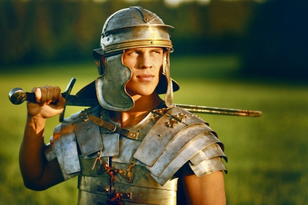 One Brave Roman soldier in field.