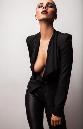 Beautiful woman dramatic portrait  Vogue style photo
