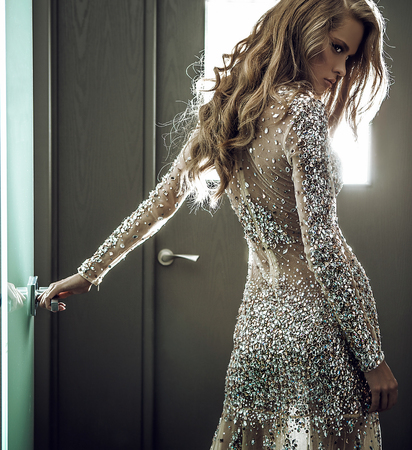 Elegant young woman in luxury dress