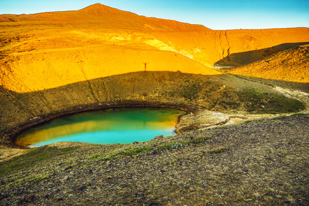 Volcanic lakes of Iceland. Scenic landscape at sunset.