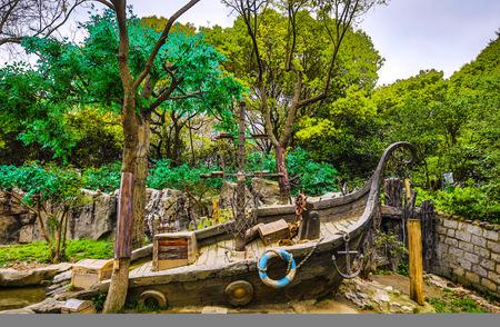 Photo pour Traditional Chinese City Garden Park. - image libre de droit