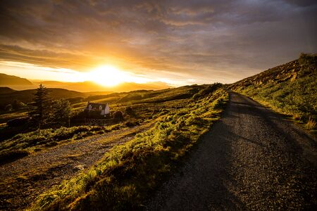Foto für Beautiful scenic landscape of Scotland nature with beautiful evening sun set sky - Lizenzfreies Bild