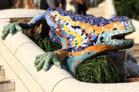 A detail of Gaudi Park Guell in Barcelona