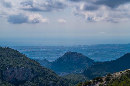 Panorama of Palma de Mallorca from Tramuntana mountains on the GR 221, Mallorca, Baleares, Spain