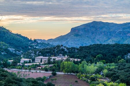 Santuari de Lluc at sunset - monastery in Majorca, Balearic Islands, Spain