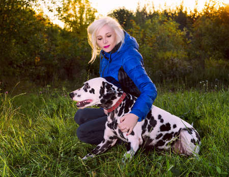 Magnificent Dalmatian dog on the nature of the hunt with a girl in a blue jacket and black jeans torn to mining