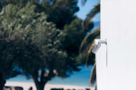 surveillance camera above a beach