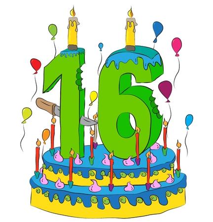 Surprising Birthday Cake With Number Sixteen Candle Celebrating Sixteenth Personalised Birthday Cards Epsylily Jamesorg
