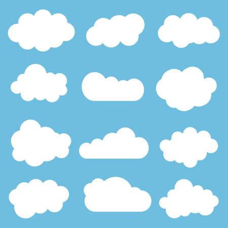 Photo pour Cloud icon set.Vector illustration. Different cloud shapes. Flat cloud collection. - image libre de droit
