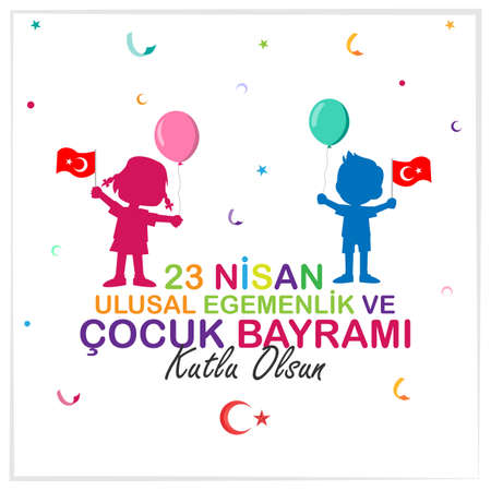 Illustration for April 23 National Sovereignty and Children's Day poster design. Turkish; Happy April 23 National Sovereignty and Children's Day poster design. - Royalty Free Image